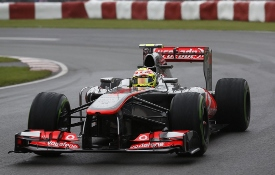 Sergio Perez in action