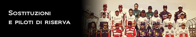 Piloti titolari e riserve in F1